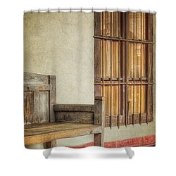 Part Of A Bench Shower Curtain by Joan Carroll