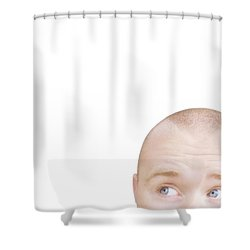 Part Of A Mans Head Looking Sideways Shower Curtain by Chris and Kate Knorr