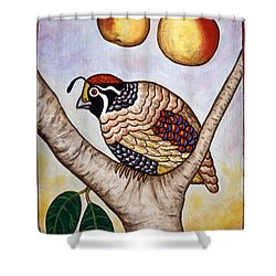 Partridge In A Pear Tree Shower Curtain by Linda Mears