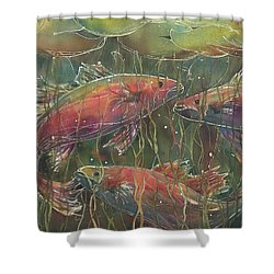 Party Under The Lily Pads Shower Curtain