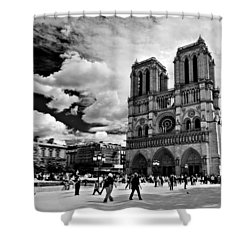 Shower Curtain featuring the photograph Parvis Notre Dame / Paris by Barry O Carroll