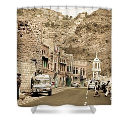 Passing Through A Village Shower Curtain by Charuhas Images