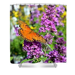 Shower Curtain featuring the photograph Passion Butterfly by Deena Stoddard