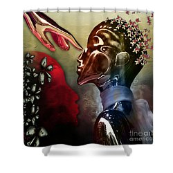 Shower Curtain featuring the digital art Passion Was...not A Thought by Rosa Cobos