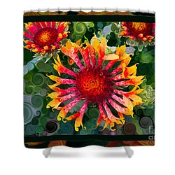 Passionate Pinwheels And Blooming Abstract Flower Art Shower Curtain by Omaste Witkowski