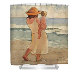 Pastel Morning Beach Pastel Morning Mother And Baby Shower Curtain