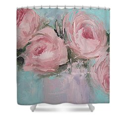 Pastel Pink Roses Painting Shower Curtain