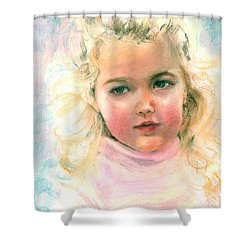 Shower Curtain featuring the painting Pastel Portrait Of An Angelic Girl by Greta Corens