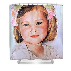 Shower Curtain featuring the painting Pastel Portrait Of Girl With Flowers In Her Hair by Greta Corens
