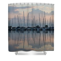 Pastel Sailboats Reflections At Dusk Shower Curtain
