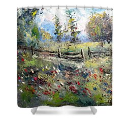 Pasture With Fence Shower Curtain
