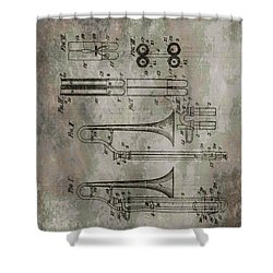 Patent Art Trombone Shower Curtain by Dan Sproul