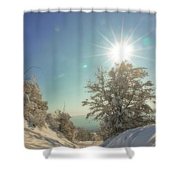 Path Covered With Snow In A Sunny Winter Day Shower Curtain