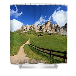 Shower Curtain featuring the photograph path in Gardena pass by Antonio Scarpi