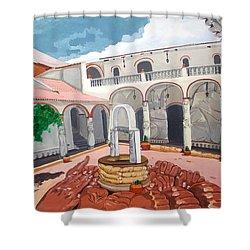 Patio Colonial Shower Curtain by Lazaro Hurtado