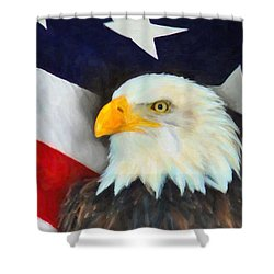 Patriotic American Flag And Eagle Shower Curtain