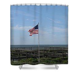 Patriotic Beach View Shower Curtain