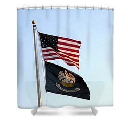 Shower Curtain featuring the photograph Patriotic Flags by Joseph Baril