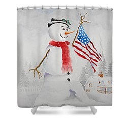 Patriotic Snowman Shower Curtain by Jimmy Smith
