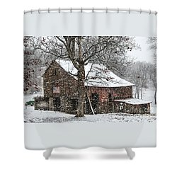 Patriotic Tobacco Barn Shower Curtain by Debbie Green