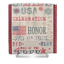 Patriotic Typography-b Shower Curtain by Jean Plout