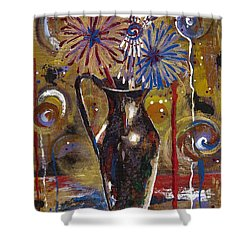 Shower Curtain featuring the painting Patriotism Blooms by Margaret Bobb