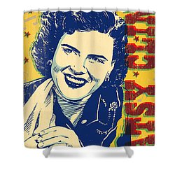 Patsy Cline Pop Art Shower Curtain by Jim Zahniser