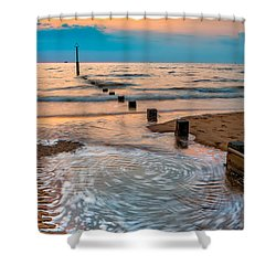 Patterns On The Beach  Shower Curtain by Adrian Evans