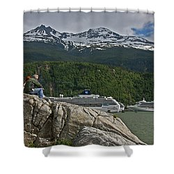 Pause In Wonder At Cruise Ships In Alaska Shower Curtain by John Haldane