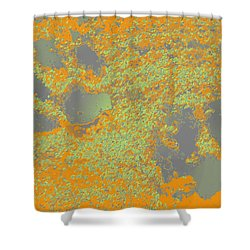 Paw Prints In Orange And Grey Shower Curtain