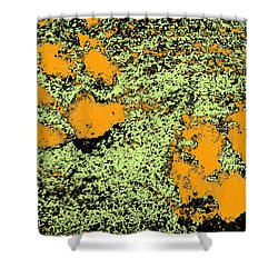 Paw Prints In Orange Lime And Black Shower Curtain