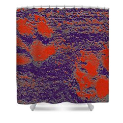 Paw Prints In Red And Purple Shower Curtain
