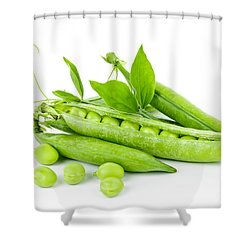 Pea Pods And Green Peas Shower Curtain by Elena Elisseeva