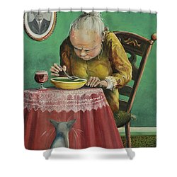 Pea Soup And Cabernet Shower Curtain by Shelly Wilkerson