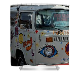 Shower Curtain featuring the photograph Peace And Love Van by Dany Lison