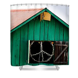 Peace Barn Shower Curtain by Bill Gallagher
