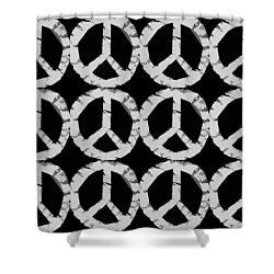 Peace In Black And White Shower Curtain by Michelle Calkins