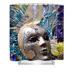 Peace In The Mask Shower Curtain by Amanda Eberly-Kudamik