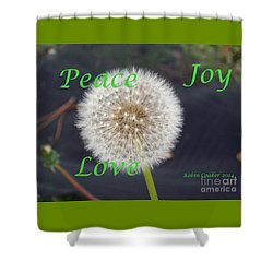 Peace Joy And Love Shower Curtain by Robin Coaker