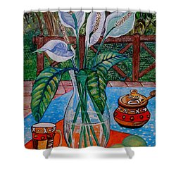 Peace Lilies On The Patio Shower Curtain by Caroline Street