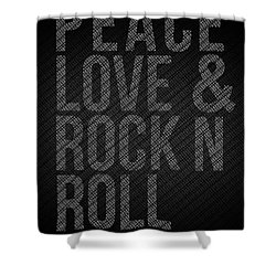 Peace Love And Rock N Roll Poster Shower Curtain