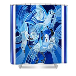 Peace On Earth Greetings With Doves  Shower Curtain by Tracey Harrington-Simpson