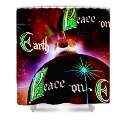 Shower Curtain featuring the photograph Antique Peace On Earth Christmas Ornaments by Vizual Studio