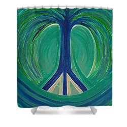 Peace Tree By Jrr Shower Curtain by First Star Art