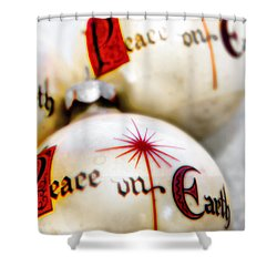 Shower Curtain featuring the photograph Antique Peace On Earth Christmas Decorations by Vizual Studio
