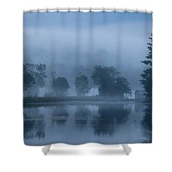 Peaceful Blue Shower Curtain by Karol Livote