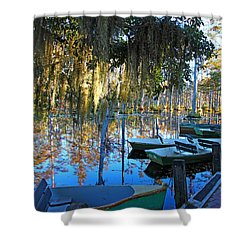 Peaceful Boat Landing By Jan Marvin Shower Curtain
