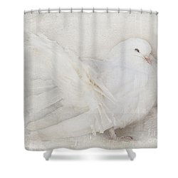 Peaceful Existence White On White Shower Curtain by Barbara McMahon