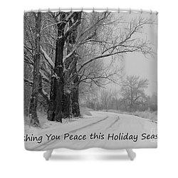 Peaceful Holiday Card Shower Curtain by Carol Groenen