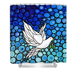 Peaceful Journey - White Dove Peace Art Shower Curtain
